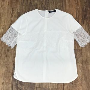 Zara Top With Lace Sleeves